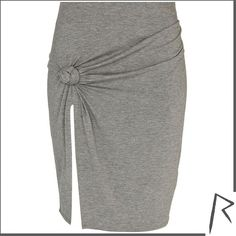 River Island Grey Rihanna knot front thigh split skirt ($31) ❤ liked on Polyvore featuring skirts, bottoms, skirts., sale, sexy skirt, jersey knit skirt, grey skirt, elastic waist skirt and river island