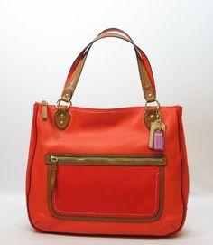 Coach Leather Poppy Colorblock Hattie East West Tote Bag 22430 Vermillion Sun Orange