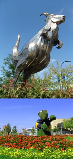 University of Akron Zips - Zippy - a metal and a grassy mascot
