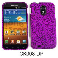 Unlimited Cellular Snap-On Cover for Samsung Galaxy S2 Epic 4G D710 (Dark Purple Egg Crack, Leather Finish)