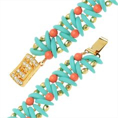 Free two-hole crescent bead bracelet pattern and video. Two-hole crescent beads take on a fanned appearance in this bead woven bracelet done in classic resort colors of turquoise, coral, and gold. Interspersed between the fans are Swarovski pearls and Czech glass fire polished round beads. The final touch is a vintage inspired Elegant Elements clasp.