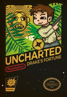 Uncharted Drake's Fortune - The Playstation game mocked up as an old NES box. Games Box, All Games, Best Games, Playstation Games, Nintendo Games, Uncharted Drake's Fortune, Video Gems, Earth Defense Force, Original Nintendo