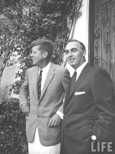 Gov. Abraham A. Ribicoff of Conn. (R) and John F. Kennedy outside Kennedy's home. Location:	Palm Beach, FL, US Date taken:	November 1960♥❃❋✽✾❀❃ ♥ http://en.wikipedia.org/wiki/John_F._Kennedy
