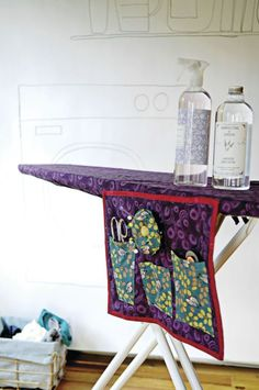 Make an ironing-board cover with a matching sewing-tool caddy.