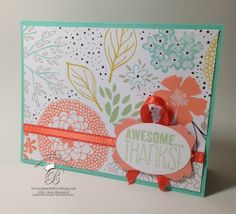 Thank you card featuring the Stampin' Up! Sweet Sorbet DSP from sale a brations 2014 using the Yippee Skippee stamp set.