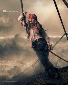 Johnny Depp plays Captain Jack Sparrow in Annie Leibowitz's Disney Dream Dream Portraits series.