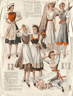 1930s dirndl inspired fashions.  Is there a commentary on the political climate we could read out of this, or is it just fun with dirndls?