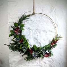 Hanging Metal Wreath Ring - Lilly is Love Christmas Ring, Modern Christmas, Simple Christmas, Christmas Crafts, Christmas Decorations, Aisle Decorations, Modern Holiday Decor, Minimal Christmas, Natural Christmas