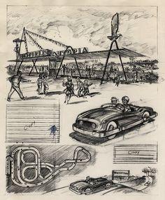 Disneyland Autopia Illustration 1955 | Scan from Kevin Kidney - http://www.flickr.com/people/miehana/