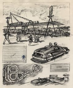 Disneyland Autopia illustration 1955