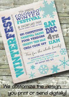 Community Winter Festival ~ Tree Lighting ~ Holiday Party ~ 5x7 Invite ~ 8.5x11 Flyer ~ 11x14 Poster ~ 300 dpi Digital Invitation