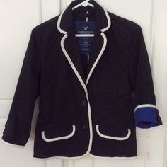 American Eagle Blazer American Eagle Navy Cotton Blazer with white piping. Cuffs can be worn down or turned up to show royal blue lining.  Double button cuff.  Excellent condition!! American Eagle Outfitters Jackets & Coats Blazers