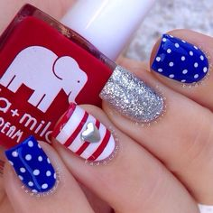 "Flag nails featuring all @ellamilapolish polishes ✨ @ellamilapolish is offering my followers 15% off for Memorial Day weekend, just enter the code EMBG15 at checkout their polishes are AMAZING, 5 free, and never tested on animals sale ends on Monday at 12AM PST so go check them out☺️ Polishes used: ""Bad Obsession"" Red ""Bags Are Packed"" Blue ""Pure Love"" White ""On Thin Ice"" Silver Glitter"