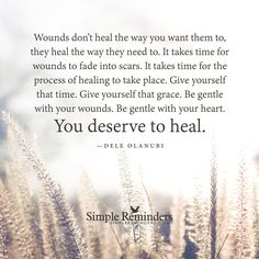 """""""Wounds don't heal the way you want them to, they heal the way they need to. It takes time for wounds to fade into scars. It takes time for the process of healing to take place. Give yourself that time. Give yourself that grace. Be gentle with your wounds. Be gentle with your heart. You deserve to heal.""""   — Dele Olanubi"""