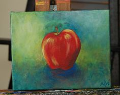 Apple Painting Red Blue Green 8 x 10 Acrylic on by ABrokenTree, $33.00