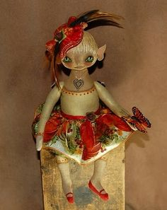 A tiny autumn elf doll~9in over all in size