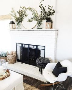 Cottage and Vine. Fireplace inspiration.