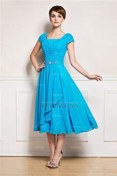 A-Line/Princess Square Tea-length Chiffon Mother Of The Bride Dress - IZIDRESS.com