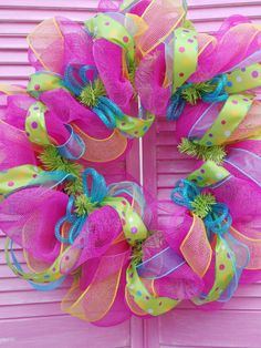 Spring Mesh Wreath by MiltonWreathCompany on Etsy