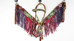 HOT PINK VIOLET FRINGE LEATHER HEADSTALL WESTERN HORSE BRIDLE BREASTCOLLAR TACK