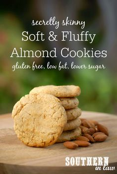 Secretly Skinny Almond Meal Cookies Recipe - Soft and Fluffy Almond Meal Cookies - gluten free, low fat, low sugar, one bowl cookie recipe, healthy