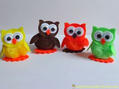 Owls - pom poms, felt, googly eyes