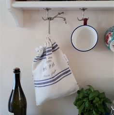 organic French Linen yarn dyed stripe double layer small white bread bag for loaf or croissants Bread Storage, Bread Bags, White Bread, Free Black, Croissants, Freshly Baked, Blue Flowers, Blue Stripes, Hand Stamped