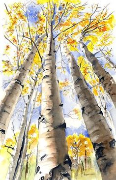 The best DIY projects & DIY ideas and tutorials: sewing, paper craft, DIY. Beauty Tip / DIY Face Masks 2017 / 2018 Birch trees- Kathleen Spellman watercolor -Read Watercolor Trees, Watercolor Landscape, Watercolour Painting, Landscape Paintings, Watercolor Portraits, Watercolors, Bird Paintings, Watercolor Artists, Indian Paintings