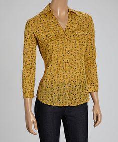 Look what I found on #zulily! Mustard Floral Button-Up Top #zulilyfinds