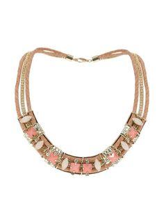 Evans auffallende Halskette mit Steinen, Pink