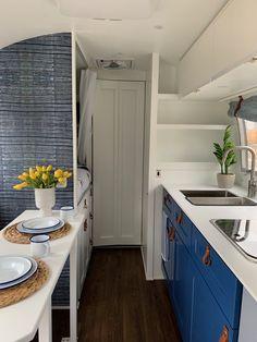 MARGOT | 1966 Airstream Safari | Colorado Caravan Airstream Vintage, Airstream Decor, Airstream Remodel, Airstream Renovation, Airstream Interior, Vintage Trailers, Built In Cabinets, Upper Cabinets, Base Cabinets
