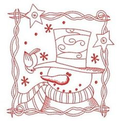 Ace Points Embroidery Design Pack: Redwork Let It Snow 2 Embroidery Cards, Learn Embroidery, Hand Embroidery Patterns, Vintage Embroidery, Embroidery Applique, Cross Stitch Embroidery, Machine Embroidery Designs, Stencils, Christmas Embroidery