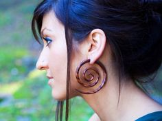 Fake Gauges  XL Double Spirals Brown Wood Earrings by TribalStyle, $28.00