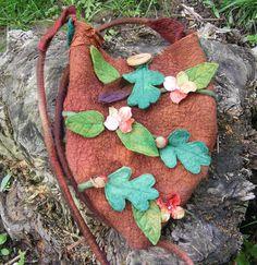 Spring Flowers Woodland Nuno Felt Bag by folkowl on Etsy, $65.00