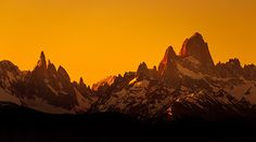 Sunset over fitz roy and torres del paine