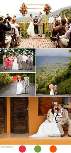 coral pink, olive green and tropical orange destination wedding in La Fortuna, Costa Rica, photos by A Brit and a Blonde