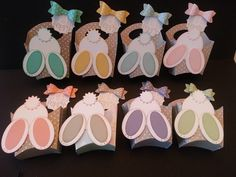 So many pretty colors, loving the fry box die to make this bunny treat box Easter Projects, Easter Crafts, Fry Box, Easter Gift Baskets, Craft Box, Craft Ideas, Stampin Up, Spring Crafts, Creative Cards