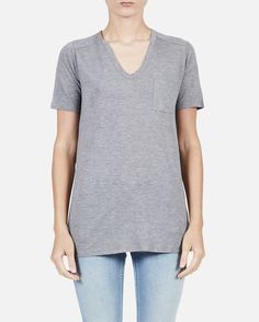Heather Gray Classic Tee with Pocket