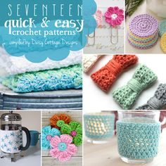 17 quick and easy crochet patterns - great for the busy summer months and for using up extra bits of yarn.