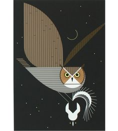 charley harper owl and skunk