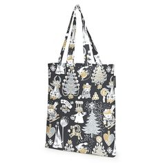 Delightful shopping bag with a Christmas pattern in black by Tove Jansson. The Finlayson fabric is 100% cotton. Size: 36 x 42 cm.Moomin products by Finlayson are inspired by Tove Jansson's original drawing and are authentic ©Moomin Characters™ license products.Finlaysonin Joulumuumi-kangaskassi, jossa Tove Janssonin piirtämä kuosi. Upeat yksityiskohdat ja tyylikäs väritys tuovat tyyliä elämään. Finlaysonin kangas on 100% puuvillaa. Koko 36 x 42 cm.Finlaysonin Muumi-tuotteet on suunniteltu…