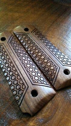 Full Size 1911 Walnut Wood Grips  Modern by SCSCustomDesign