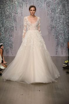 Looking for a ballgown wedding dress with long sleeves? Monique Lhuillier's got a few in her brand-new fall 2016 collection. Come see the pics!