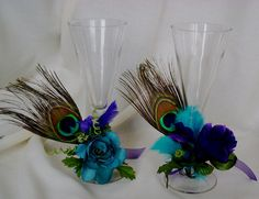 Peacock Accessories for Toasting Flutes Wedding Tie on Wine Glass Cozy Reception Bridal Shower Decor Favors. $28.95, via Etsy.