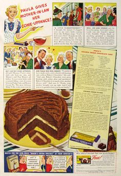 9 vintage Baker's Chocolate ads that will have you craving chocolate cake Retro Recipes, Old Recipes, Vintage Recipes, Cookbook Recipes, Bakers Chocolate, Chocolate Cake, Craving Chocolate, Vintage Baking, Vintage Food