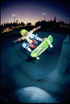 Caballero. Frontside ollie over the channel in the capsule pool, 1979.