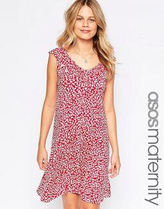 Image 1 ofASOS Maternity Ruffle Skater Dress in Animal Print