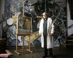 Portrait of Norwegian painter,  Kai Fjell, in his studio.....Kai Breder Fjell ( March 2, 1907 in Skoger – January 10, 1989 at Lysaker) was a Norwegian painter, printmaker and scenographer.Kai Fjell early developed an ornamental expressionism. His pictures are heavily influenced by rural life and traditional Norwegian folk art.