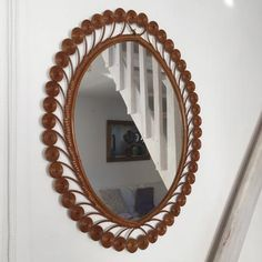 1960s Vintage Rattan Wicker Scroll Mirror - Miroir Vintage Rotin Volutes Peacock- Free Delivery UK-Livraison Gratuite France