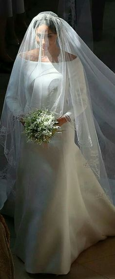 Meghan Markle during the first part of her wedding processional. This image was . Meghan Markle during the first part of her wedding processional. This image was captured from far a Princess Style Wedding Dresses, Royal Wedding Gowns, Wedding Dresses 2018, Classic Wedding Dress, Royal Weddings, Wedding Veils, Designer Wedding Dresses, Wedding Day, Trendy Wedding